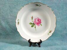 MEISSEN Pink Rose Round Serving Platter Chop Plate Ruffled Rim Germany