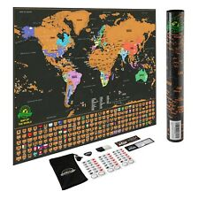 "Deluxe Scratch off World Map by Earthabitats 24""X17"" Black and Gold"