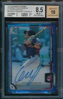 GIO URSHELA AUTO 2015 Bowman Chrome BLUE REFRACTOR #/150 RC BGS 8.5/10 NM-MINT