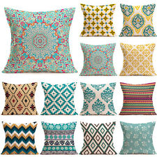 Newest Vintage Geometric Linen Cotton Pillow Case Cushion Cover Home Sofa Decor