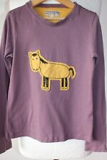 JOULES GIRLS CASUAL LONG SLEEVE COTTON TOP IN HAZY PURPLE HORSE FRONT AGE 8