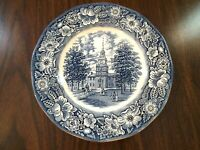 Staffordshire Liberty Blue Independance Hall Transferware Dinner Plate