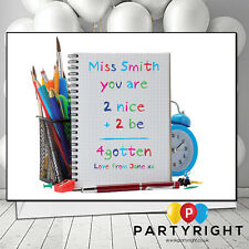 Personalised Thank You Teacher School Leaving Card Crayon Style Sum