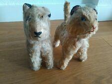 Zwei sehr alte Stofftiere KATZE und HUND VINTAGE Rarität altes Spielzeug