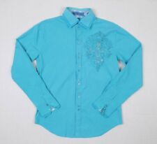 Wild West Boots Vintage Long Sleeve Western Shirt Sz Med Blue Saint Rhinestone