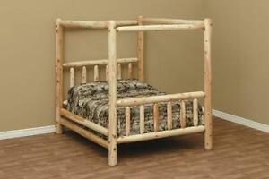 CANOPY LOG BED KING SIZE, RUSTIC BED, LOG FURNITURE, REAL WOOD BED, CEDAR LOG