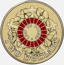 Royal Australian Mint 2015 $2 Coin Red Anzac Coin Uncirculated Limited Stock