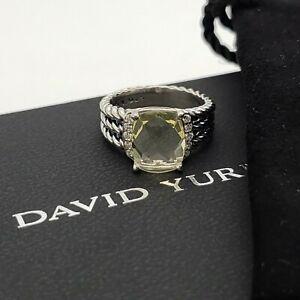 David Yurman Sterling Silver Petite Wheaton Lemon Citrine & Diamond Ring Size 5