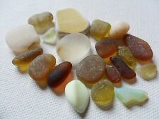 Warm yellows, beautiful browns - Sea glass & pottery mix - 20 assorted pieces