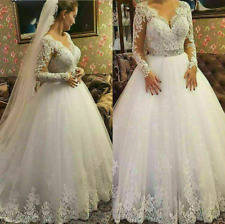 Wedding Dresses Long Sleeve Lace Applique V Neck Bridal Ball Bridal Gown