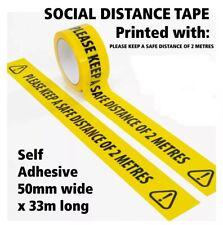 Social Distancing Floor Tape Yellow Hazard 50mm x 33m Safe Distance 2 Metres 058