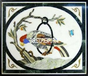 15'' Marble Inlay Square Table Top Multi Parrot Art Marquetry Gems Outdoor Decor