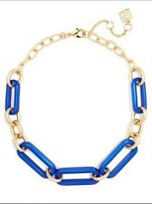 BOUTIQUE COBALT IRIDESCENT RESIN & METAL LINK COLLAR NECKLACE