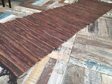 Fab Cotton Leather Rag Rug Runner Natural Brown Braided Flat Weave 60cm x 240cm