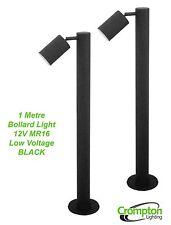 2 x BLACK 1 Metre DIY Garden Adjustable Bollard Light 12V MR16 Low Voltage