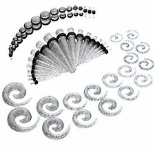 54PC Ear Taper Kit Glitter Spiral Unique Ear Gauges Set 14G-00G Ear Stretchers