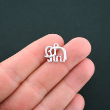 10 Elephant Charms Silver Plated Open Design - SC4574