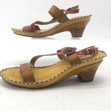 Spring Step Womens Dreamer Sandals Brown Floral Cuban Heels Leather 7.5-8 EU 38