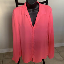 FOREVER 21 Pink Neon Button Down Shirt Size Medium