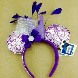 Disney Parks Purple Feathers Bow Mickey Minnie Mouse Sequin Ears Headband