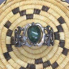 Vintage Los Ballesteros Mexico sterling silver & deep green agate cuff bracelet