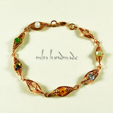 Women's Colorful Shiny Crystals Beaded Handmade Copper Wire Wrapped Bracelet