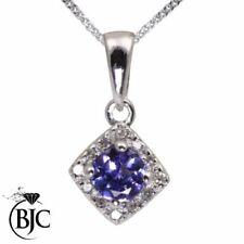 Collares y colgantes de joyería de oro blanco tanzanita diamante