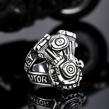 【Ship From US】Punk Rocker Biker Motorcycles Engine Stainless Steel Ring Size 11