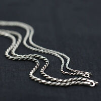 """Real Solid 925 Sterling Silver Necklace Twisted Braided Rope Chain 18"""" - 30"""""""