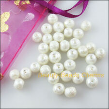 20 New Charms White Loose Round Ball Glass Wrinkle Spacer Beads 8mm