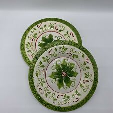 """2 Yankee Candle Christmas Plates Holly Candy Cane Poinsettia Holiday 7.75"""" Round"""