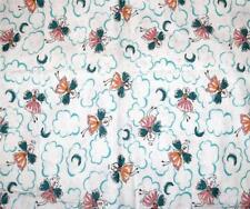 "FAIRIES Clouds Silver Glitter Teal Pink Peach Flannel Fabric 44"" W x 50"" OOP"