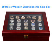 30 Holes Wooden Championship Ring Display Box Storage Holder Organizer Case Gift