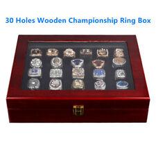 30 Holes Wooden Championship Ring Display Box Storage Holder Organizer Case Gift