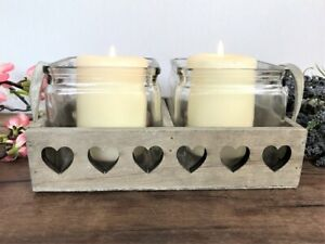 Rustic Double Wooden Hearts Candle Holder Tray Shabby Chic Vintage Country Style