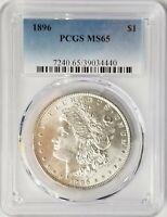 1896-P Morgan Silver Dollar PCGS MS65 Blazing White Gem Nice Strike