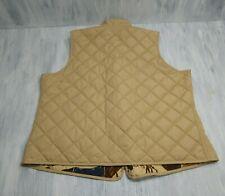 Ralph Lauren Polo Women's 2X Tan Quilted Equestrian Vest Brass Zip  Reversible