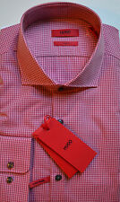 NWT HUGO (Red Label) By Hugo Boss Sharp Fit Easy Iron Gingham Dress Shirt