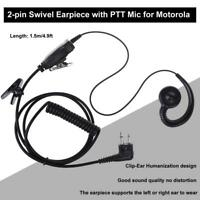Swivel Earpiece 2 Pin with Microphone and PTT for Motorola 2 Ways Radio Walkie