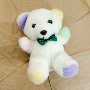 Vintage 1988 Dan Dee Bow Tie Teddy Bear White Pastel Stuffed Animal Plush Toy