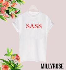 SASS RETRO TEE RED INDIE SASSY LADIES UNISEX POPULAR CELEB T SHIRT TOP GIFT