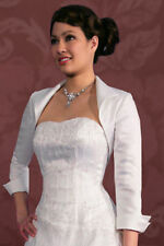Satin White/Ivory Bridal Jackets 3/4 Sleeve Wedding Bolero/Wrap/Shrug Custom