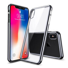Apple IPHONE X Hybrid Transparent Clear Chrome Frame TPU Rubber Slim Cover Case