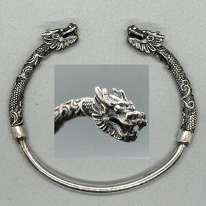 Dragon 925 silver bangle torc biker pagan viking ragnar oath norse nordic goth