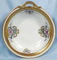 Porcelain Candy Dish Nut Bowl Pink Blue Flowers Hand Painted Gold Edge Vintage