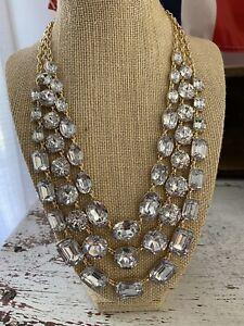 J. Crew Statement Necklace Layered Rhinestones Shiny Gold Chain Strands Stunning