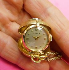 VINTAGE SOLID 14K GOLD CORUM COLLAPSIBLE PENDANT BALL WATCH, w/14K CHAIN