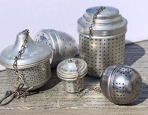 Lot Of 5 Vintage Or Antique Tea Leaf Holders Aluminum Strainers Acorn Round Oval