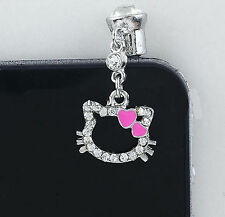 Hello Kitty Sparkle phone charm plug anti-dust 3.5mm iphone 4 4s Smart