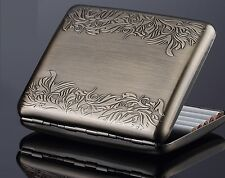 Vintage Brass Copper Swirl Side Flower Floral Wiredrawing Cigarette Case Box